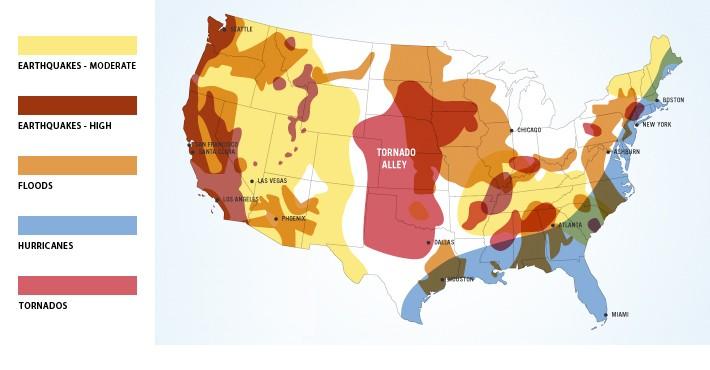 Карта катаклизмов Америки